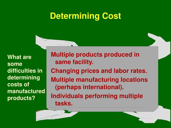 What are some difficulties in determining costs of manufactured products?