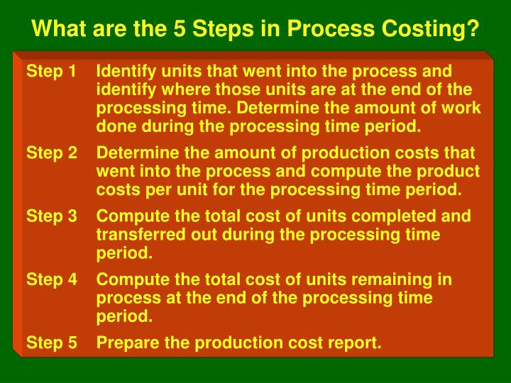 What are the 5 Steps in Process Costing?