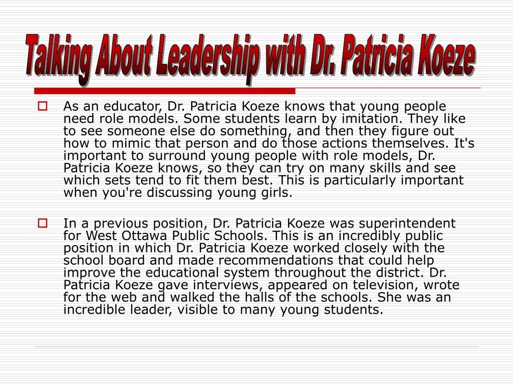 Talking About Leadership with Dr. Patricia Koeze