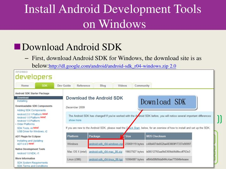 Install android development tools on windows