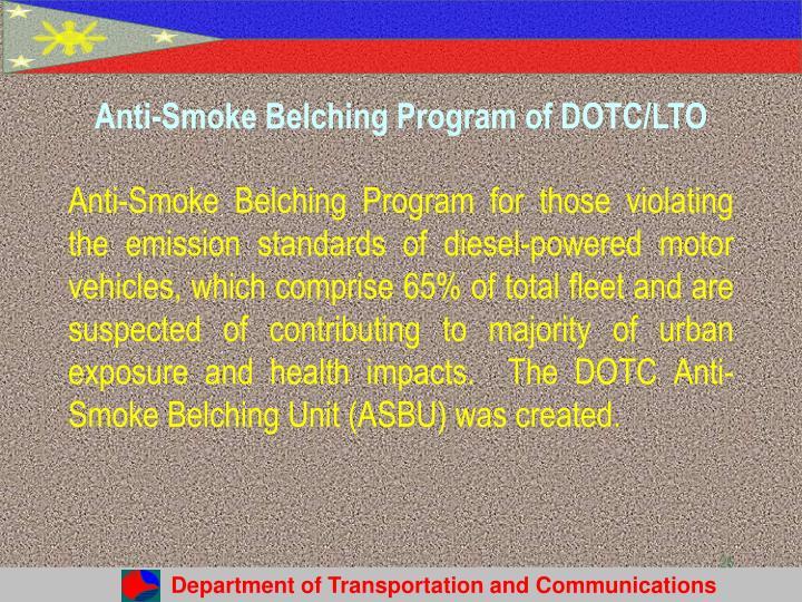Anti-Smoke Belching Program of DOTC/LTO