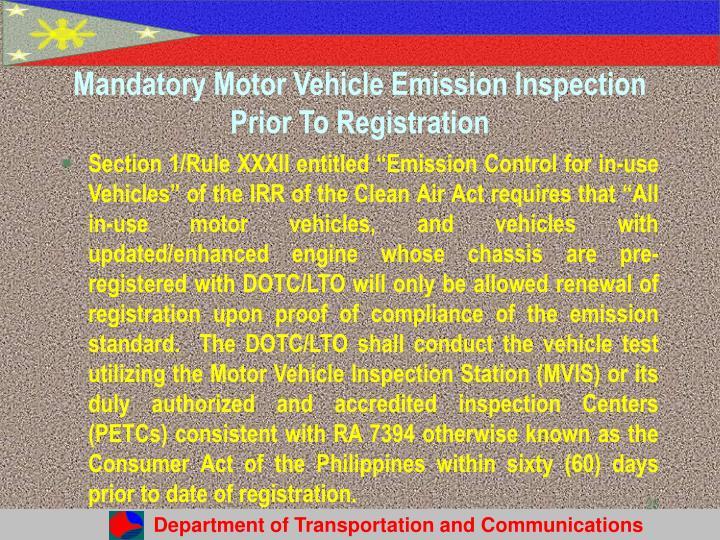 Mandatory Motor Vehicle Emission Inspection Prior To Registration