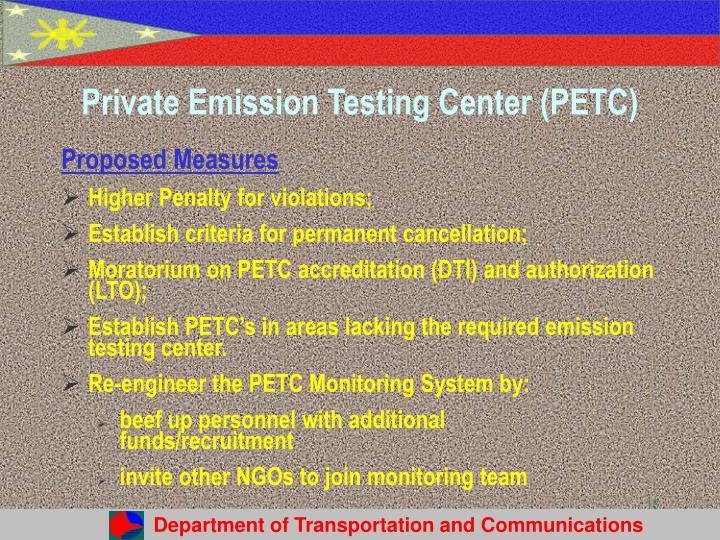 Private Emission Testing Center (PETC)