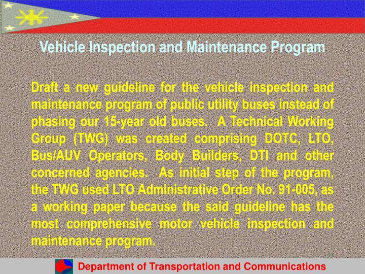 Vehicle Inspection and Maintenance Program