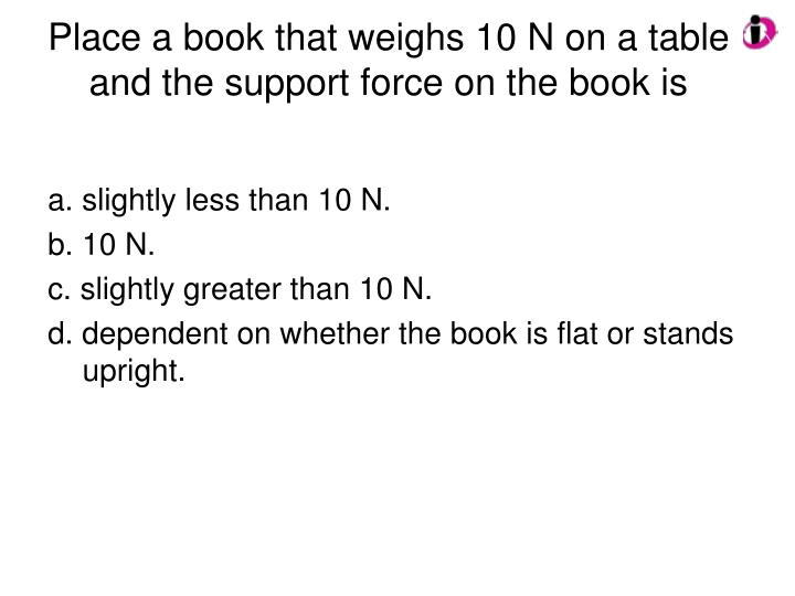 Place a book that weighs 10 N on a table and the support force on the book is