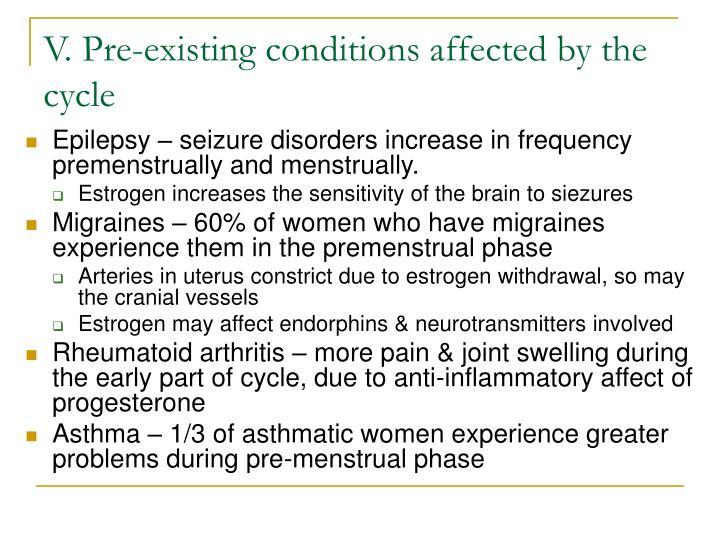 V. Pre-existing conditions affected by the cycle