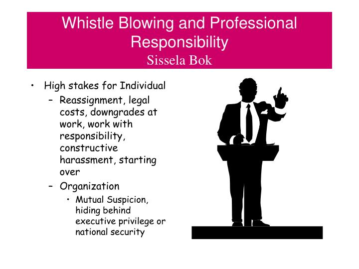 Whistle blowing and professional responsibility sissela bok