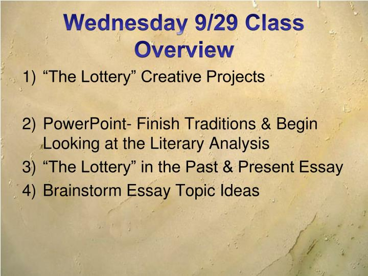Ppt  The Lottery Shirley Jackson Powerpoint Presentation  Id Wednesday  Class Overview