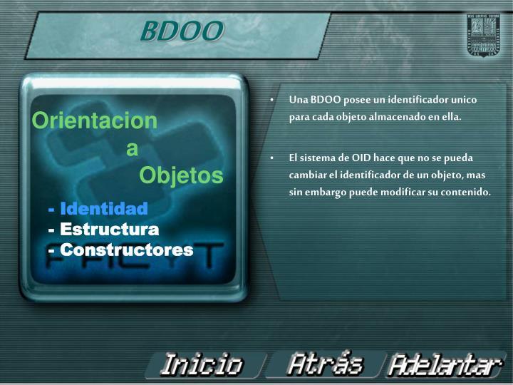 Una BDOO posee un identificador unico para cada objeto almacenado en ella.