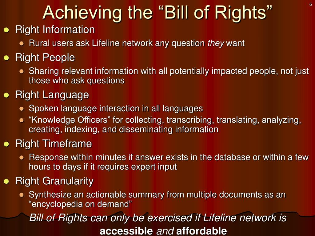 "Achieving the ""Bill of Rights"""