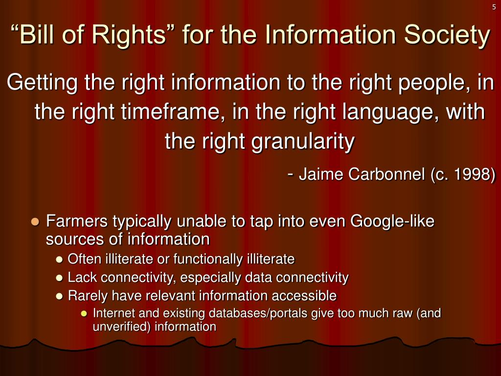 """Bill of Rights"" for the Information Society"