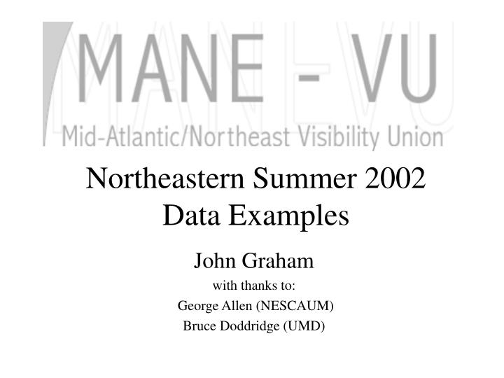 Northeastern summer 2002 data examples