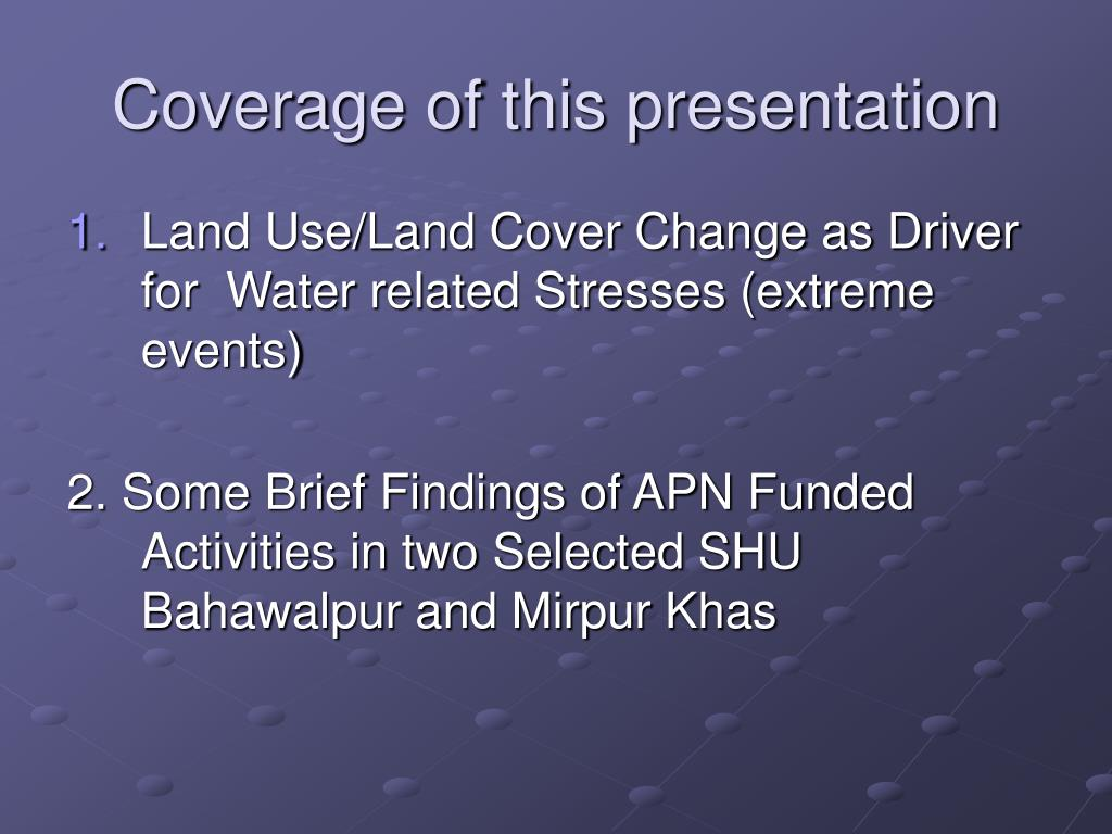 Coverage of this presentation