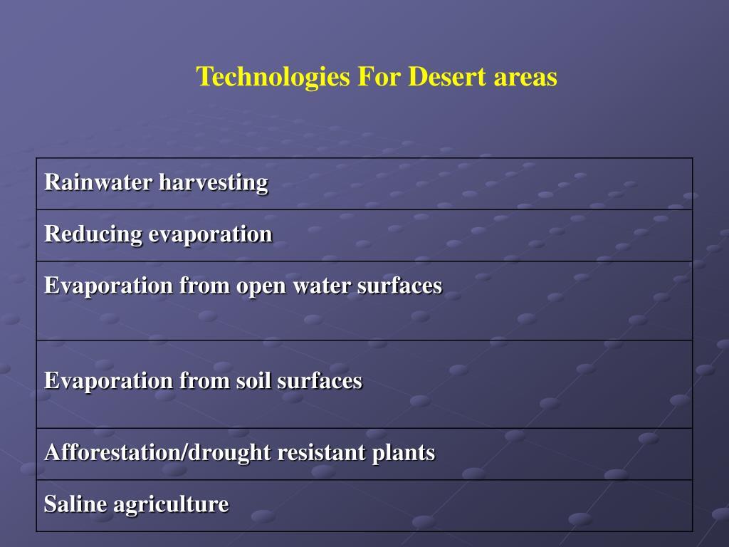 Technologies For Desert areas