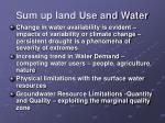 sum up land use and water