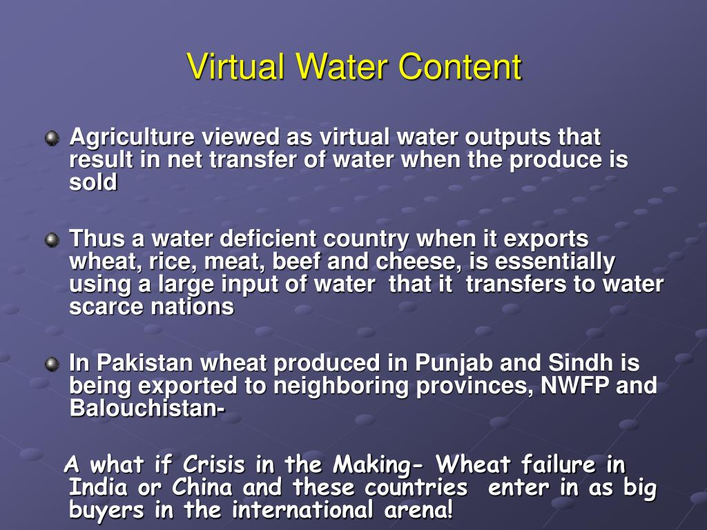 Virtual Water Content