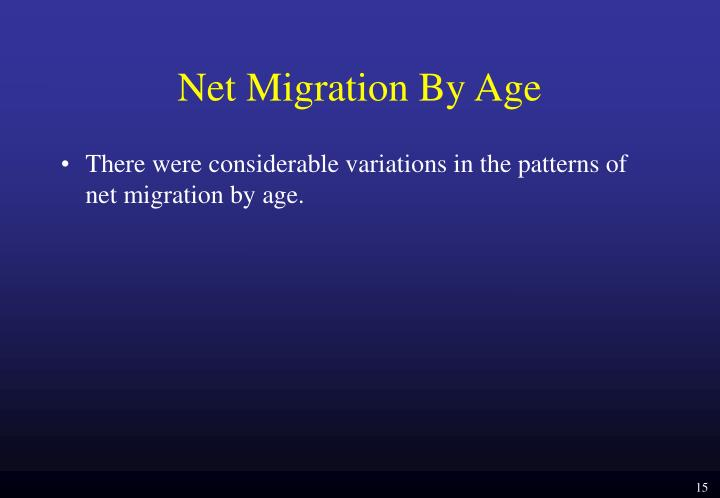 Net Migration By Age