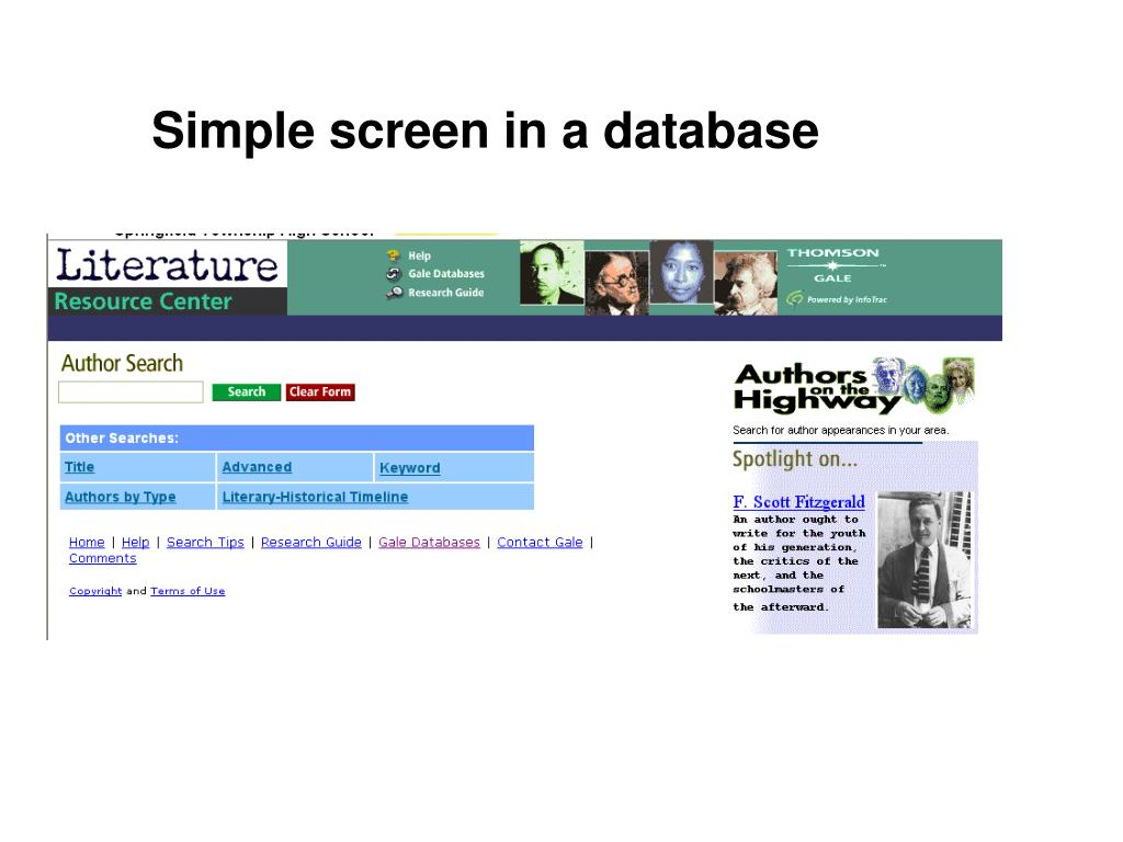 Simple screen in a database
