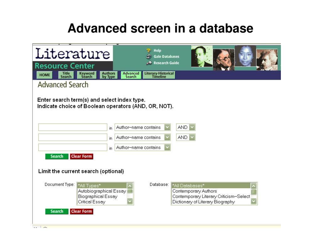 Advanced screen in a database