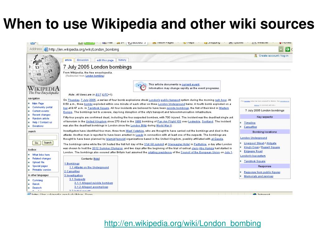When to use Wikipedia and other wiki sources