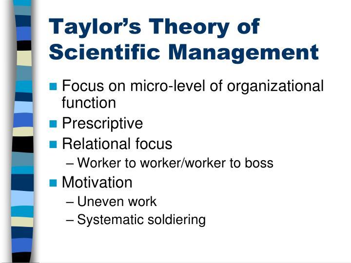 Taylor's Theory of Scientific Management