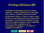 privileges defenses 400