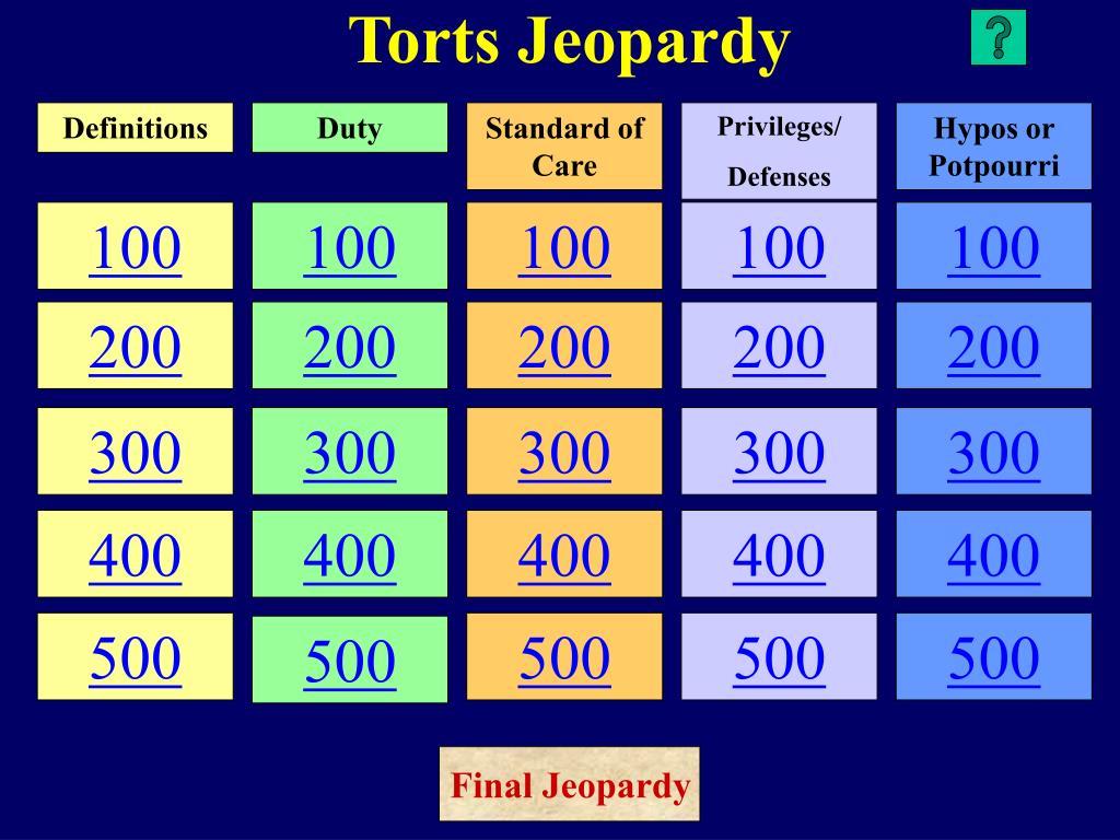 torts jeopardy l.