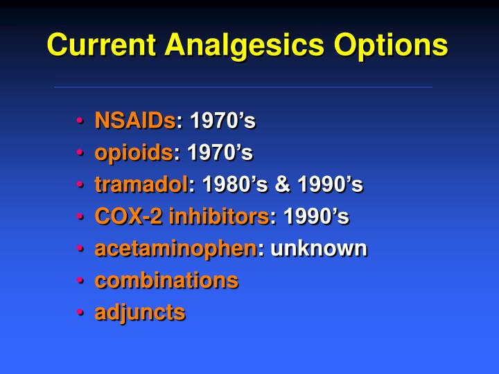 Current Analgesics Options