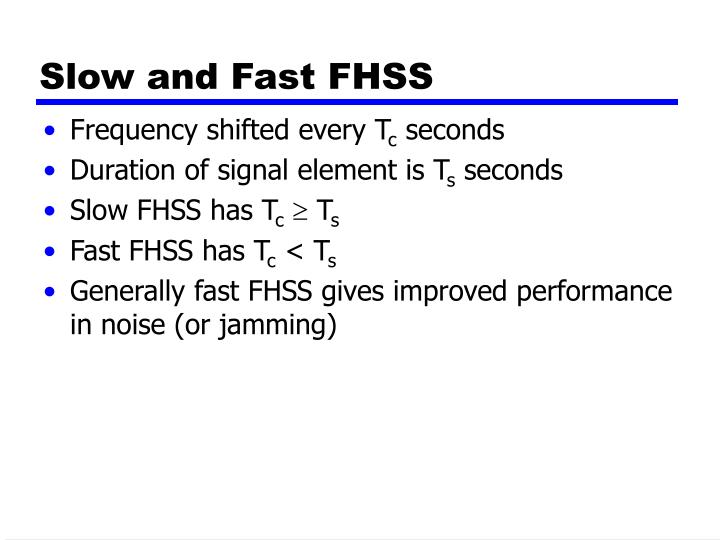 Slow and Fast FHSS