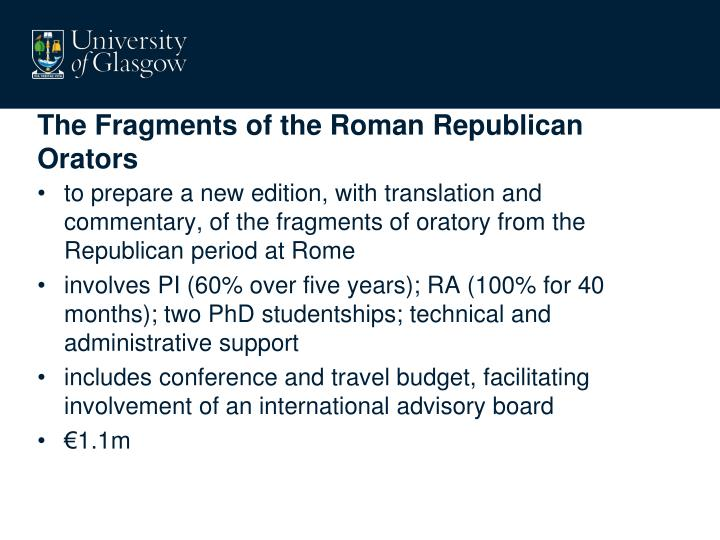The Fragments of the Roman Republican Orators