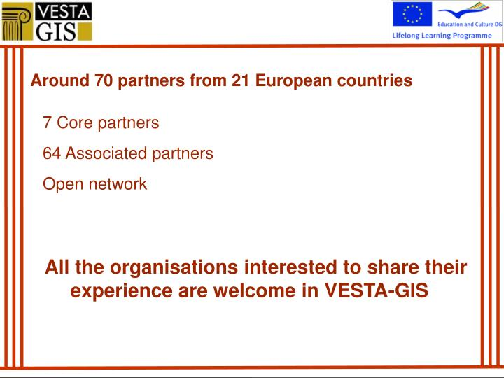 Around 70 partners from 21 European countries