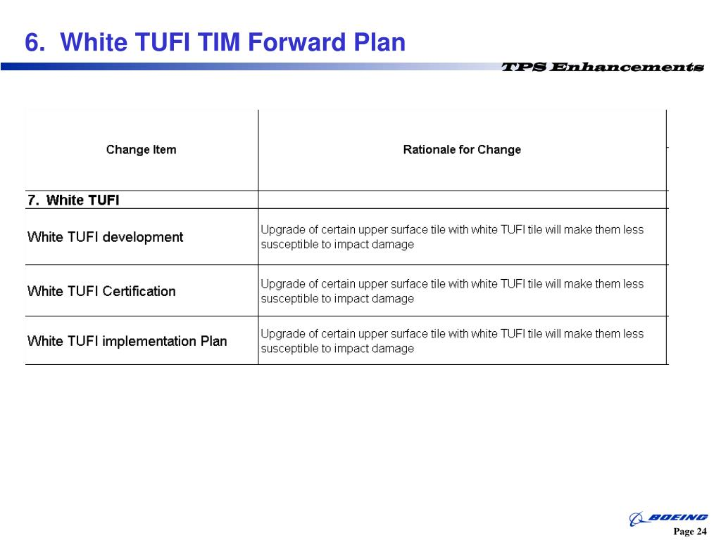 6.  White TUFI TIM Forward Plan