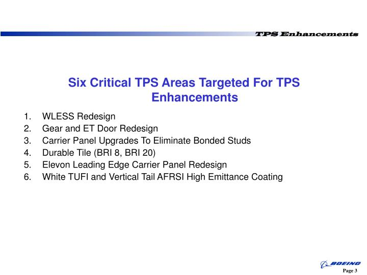 Six critical tps areas targeted for tps enhancements
