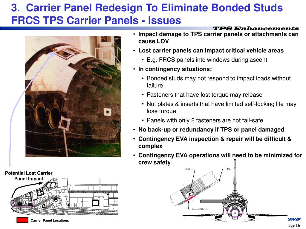 3.  Carrier Panel Redesign To Eliminate Bonded Studs