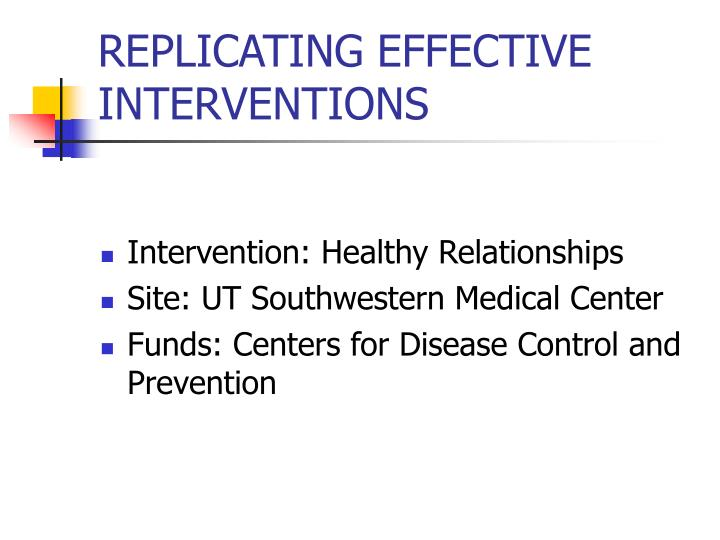 replicating effective interventions n.