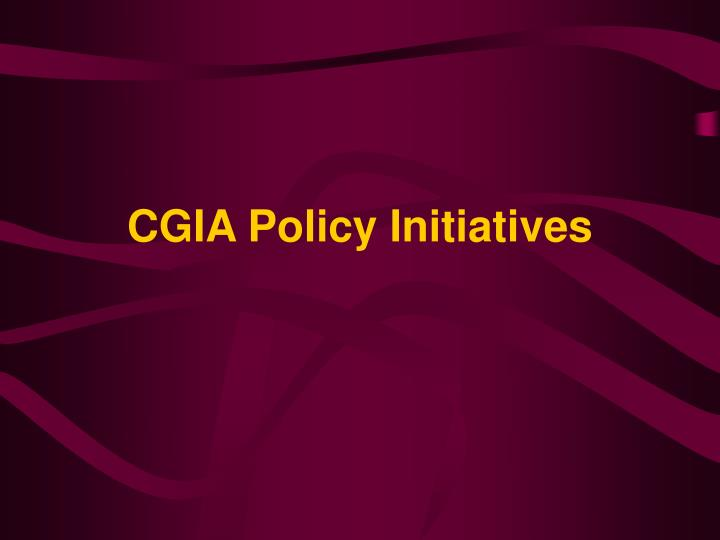 CGIA Policy Initiatives
