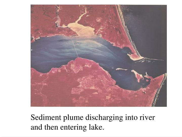 Sediment plume discharging into river and then entering lake.