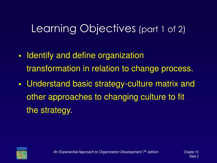 Learning objectives part 1 of 2