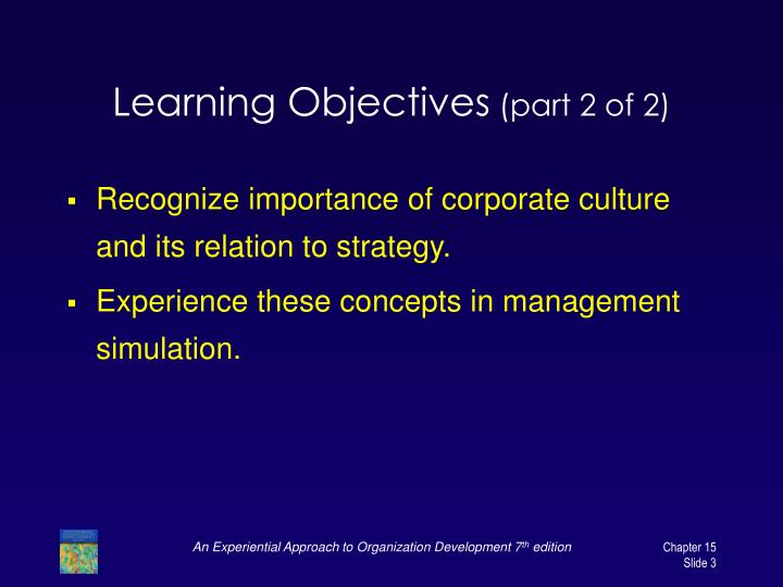 Learning objectives part 2 of 2