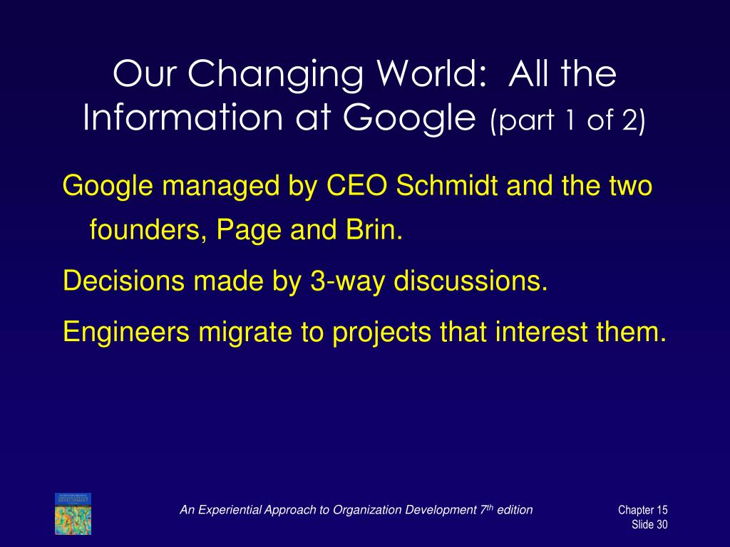 Our Changing World:  All the Information at Google