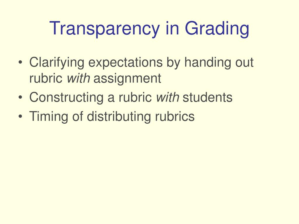 Transparency in Grading