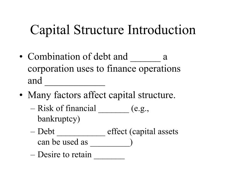 capital structure exercise The capital structure of a company refers to the mixture of equity and debt finance used by the however, before we get into the detail of capital structure theory, you may be thinking how the.