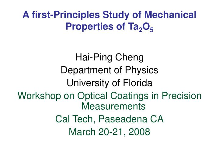 a first principles study of mechanical properties of ta 2 o 5 n.