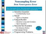 nonsampling error item nonresponse error