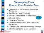 nonsampling error response error control of error