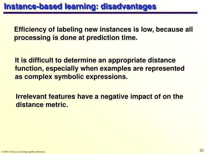 Instance-based learning: disadvantages
