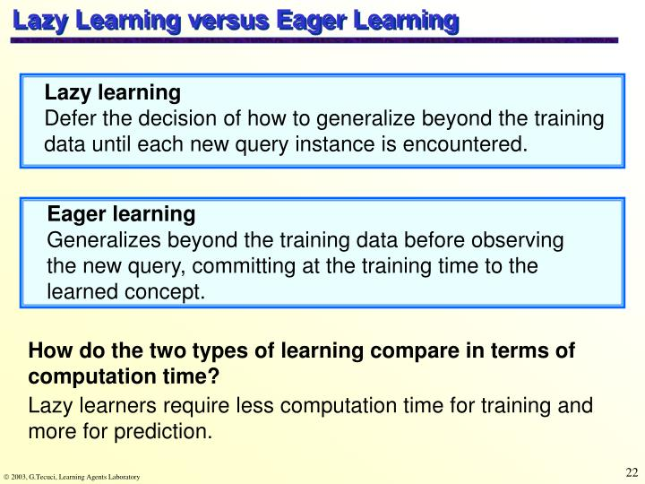 Lazy Learning versus Eager Learning