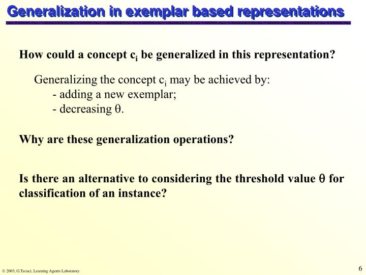 Generalization in exemplar based representations
