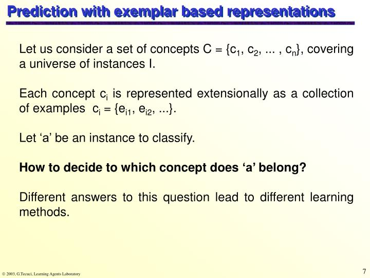 Prediction with exemplar based representations