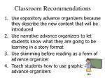 classroom recommendations